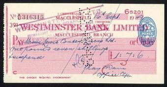 Picture of Westminster Bank Ltd., Macclesfield, 19(49), type 11c