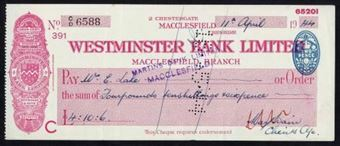 Picture of Westminster Bank Ltd., Macclesfield, 2 Chestergate, 19(44), type 3b
