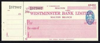 Picture of Westminster Bank Ltd., Malton, 19(43), type 8b