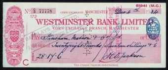 Picture of Westminster Bank Ltd., Manchester, Corn Exchange, 19(34), type 3f