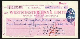 Picture of Westminster Bank Ltd., Market Branch, Liverpool, 19(57), type 12a