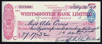 Picture of Westminster Bank Ltd., Northwich, The Bull Ring, 19(41), type 3b