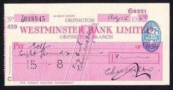 Picture of Westminster Bank Ltd., Orpington, 19(50), type 10a