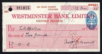 Picture of Westminster Bank Ltd., Oxford, 19(45), type 8d