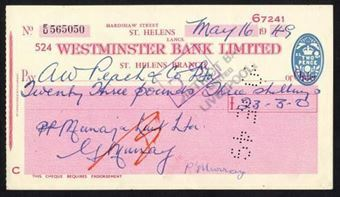 Picture of Westminster Bank Ltd., St. Helens, 19(49), type 11c