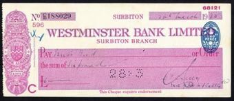 Picture of Westminster Bank Ltd., Surbiton, 19(35), type 3a