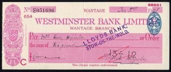 Picture of Westminster Bank Ltd., Wantage, 19(39), type 3a