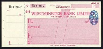 Picture of Westminster Bank Ltd., Weybridge, 19(47), type 8b