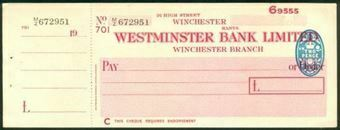 Picture of Westminster Bank Ltd., Winchester, 19(50), type 9