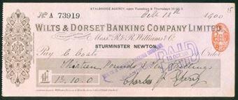 Picture of Wilts & Dorset Banking Company Ltd., inc R & R Williams & Co, Sturminster Newton, 1900
