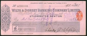 Picture of Wilts & Dorset Banking Company Ltd., inc R & R Williams & Co, Sturminster Newton, 1903-1908