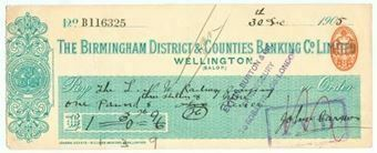 Picture of Birmingham District & Counties Banking Co. Ltd., Wellington (Salop), 190(5)