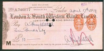 Picture of London Provincial & South Western Bank Ltd ovptd on London & S. Western Bank Ltd., 19(19)