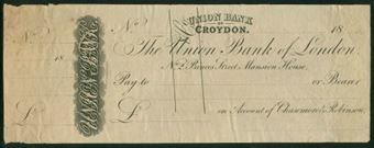Picture of Union Bank of London, No.2 Princes St, Union Bank of Croydon, 18-- circa 1820, PROOF