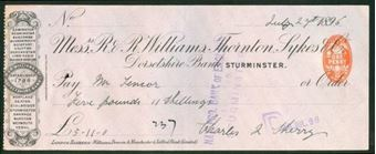Picture of R & R Williams, Thornton, Sykes & Co., Dorsetshire Bank, Sturminster, 189(2)
