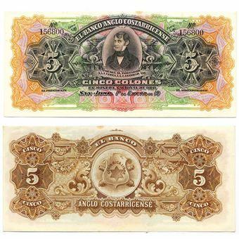 Picture of Costa Rica Banco Anglo Costarricense 5 colones PS122r Unc
