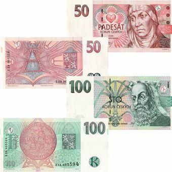 Picture of Czech Republic, 50 & 100 korun pair, 1997. Unc