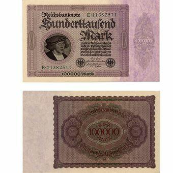 Picture of Germany 'Merchant' 100,000 marks, 1923. (P83) Crisp GEF/Unc