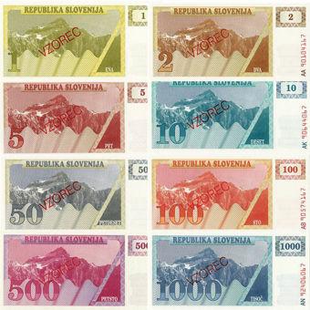 Picture of Slovenia 1-1000 Tolarjev Specimen Set  (8 Values) Unc