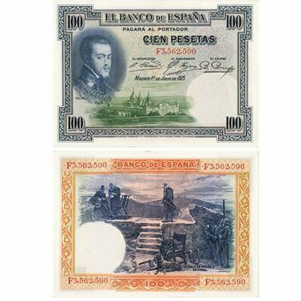 Picture of Spain, 100 Pesetas, 1925 (P69) VF