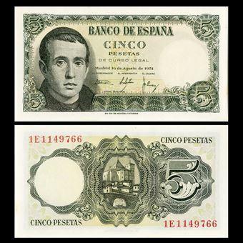 Picture of Spain, 'Balmes' 5 pesetas, 1951 (P140) UNC