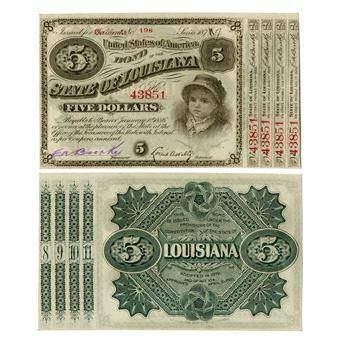 Picture of United States of America, USA Louisiana Baby Bond, 1870's. GEF/UNC