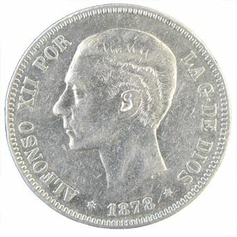 Picture of Spain, 5 pesetas, Alfonso XII, 1877-81. Fine or better