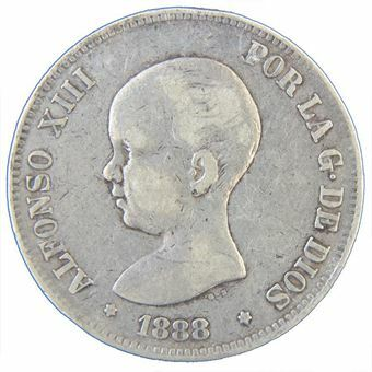 Picture of Spain, 5 pesetas, Alfonso XIII Baby head 1888-92, Fine or better