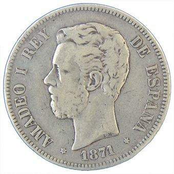 Picture of Spain, 5 Pesetas (Amadeo) 1871 Fine or better