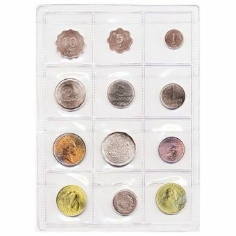 Picture of UN FAO Food For All sheet of 12 Uncirculated coins.