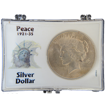 Picture of United States of America, Silver Peace Dollar. BU in case.