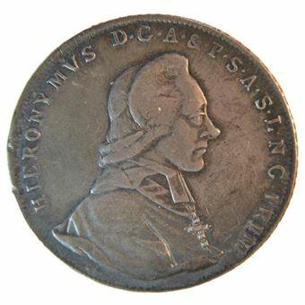 Picture of Austria, Salzburg, Silver Thaler, 1789. GVF/AEF toned.