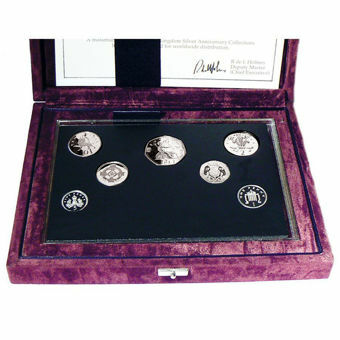 Picture of Elizabeth II, 7-coin Silver Proof Set in presentation case 1996
