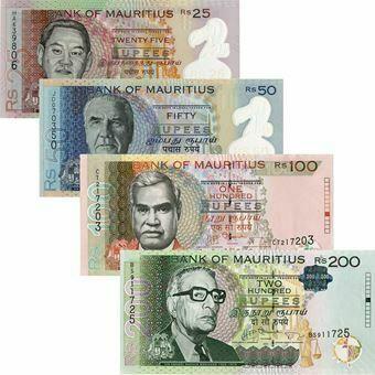 Picture of Mauritius Quartet 25-200 rupees. Unc