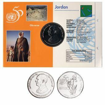 Picture of Jordan, 5 Dinars, 1995 UN Commemorative. UNC