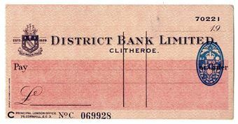 Picture of District Bank Ltd., Clitheroe, 19(47). Unissued