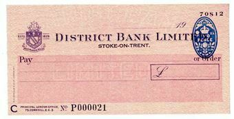 Picture of District Bank Ltd., Stoke-on-Trent, 19(50). Unissued