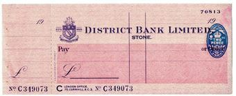 Picture of District Bank Ltd., Stone, 19(44). Unissued