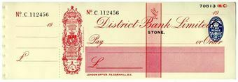 Picture of District Bank Ltd., Stone, 19(31). Unissued