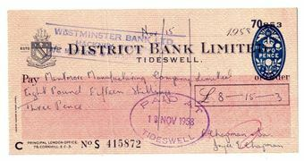 Picture of District Bank Limited, Tideswell, 19(58). Used