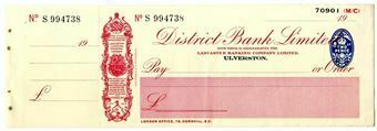 Picture of District Bank Ltd., Ulverston, 19(32). Unissued