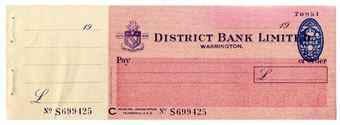 Picture of District Bank Ltd., Warrington, 19(48). Unissued