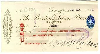 Picture of British Linen Bank, Dumfries, 193-. Used.