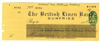 Picture of British Linen Bank, Dumfries, 19(45). Unissued.
