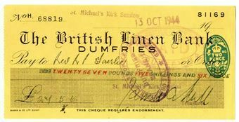 Picture of British Linen Bank, Dumfries, 1940s. Used