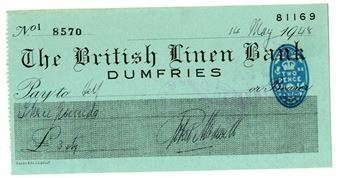 Picture of British Linen Bank, Dumfries, 1940s, Bearer. Used.