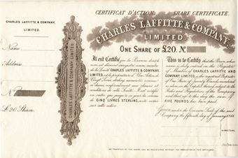 Picture of Charles Laffitte Share Certificate, 1866 Unissued.