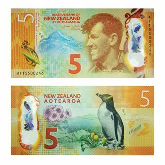 Picture of New Zealand, New Plastic 5 dollars, 2015 (P191). UNC