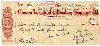 Picture of India, Canara Industrial & Banking Syndicate, 1936