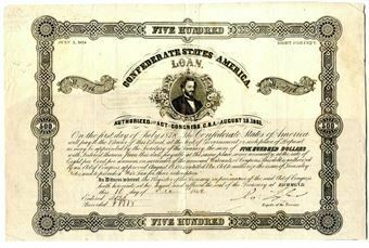 Picture of United States of America, Confederate States of America, $500, Bond Act, 1861